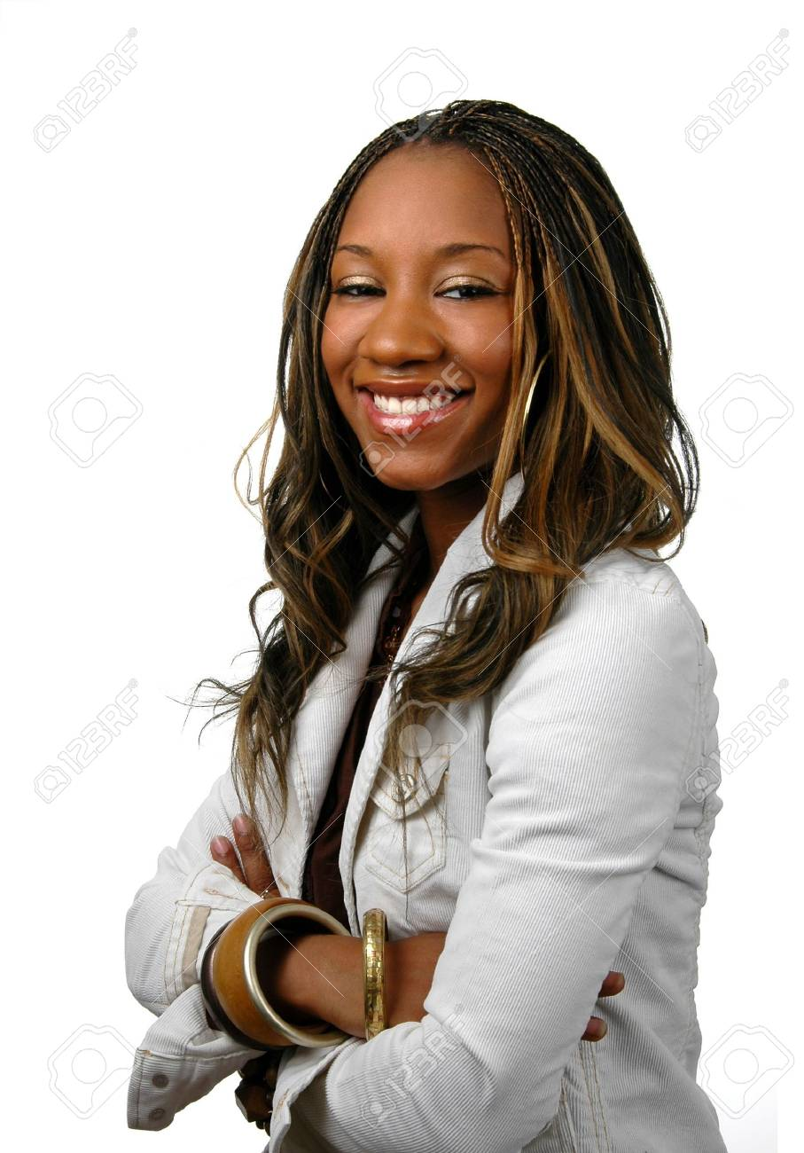 Attractive young woman with arms crossed over a white backgorund. Stock Photo - 897740