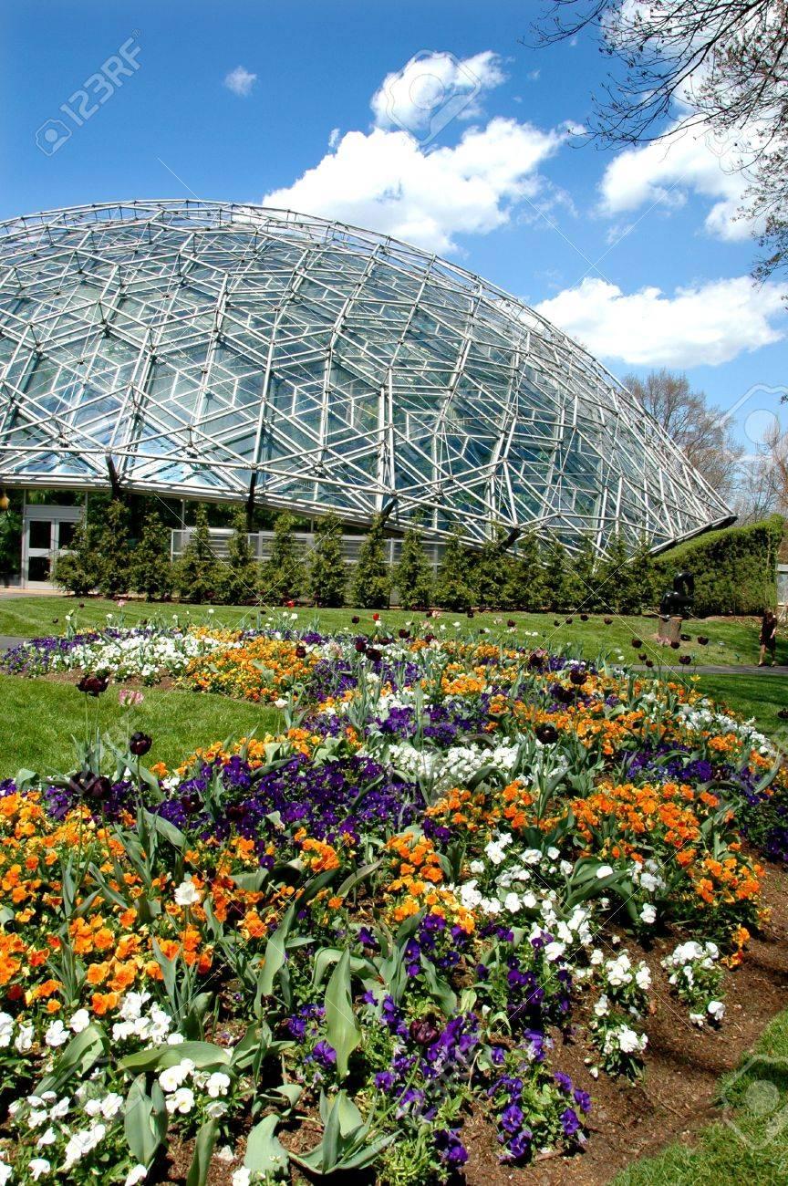 Saint Louis Botanical Garden With Geodesic Dome Stock Photo