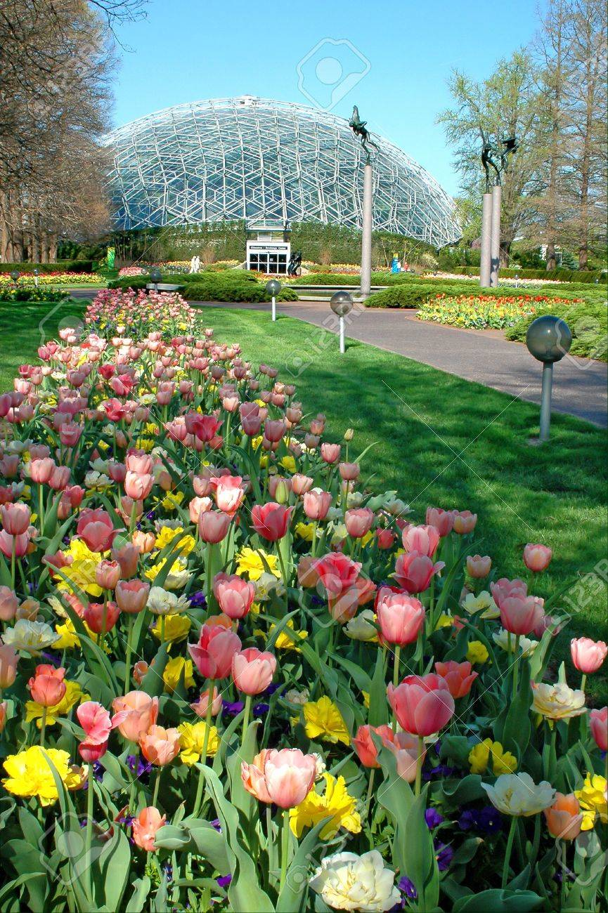 Saint Louis Botanical Garden With View Of Geodesic Dome Stock