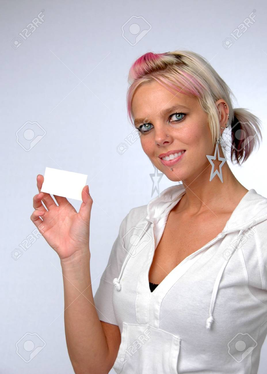 Young beautiful woman showing card. Add your own credit card or business card. Stock Photo - 1788558