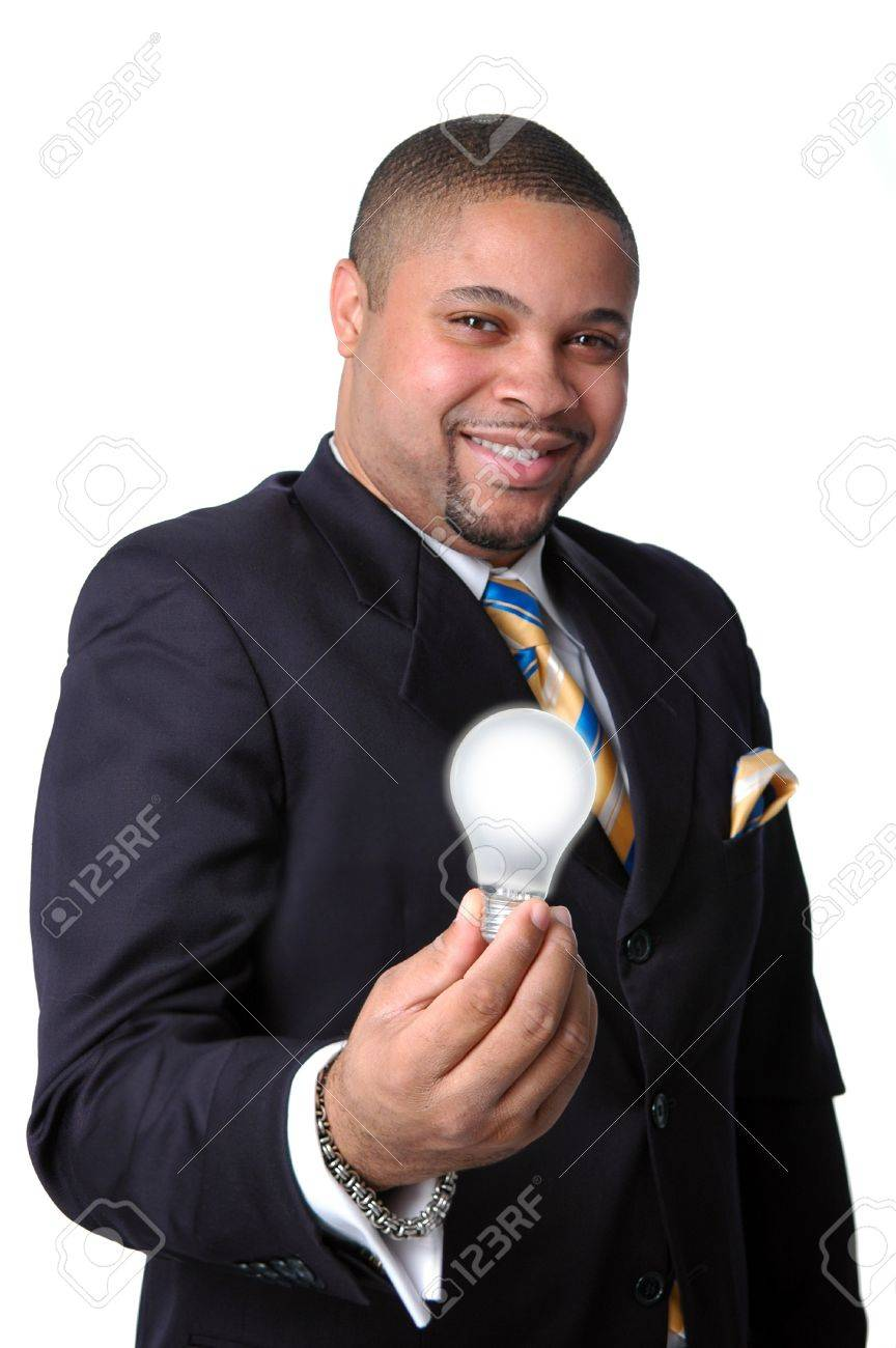 Young African American businessman expressing an ideas metaphor--Isolated over a white backgroung Stock Photo - 7750967