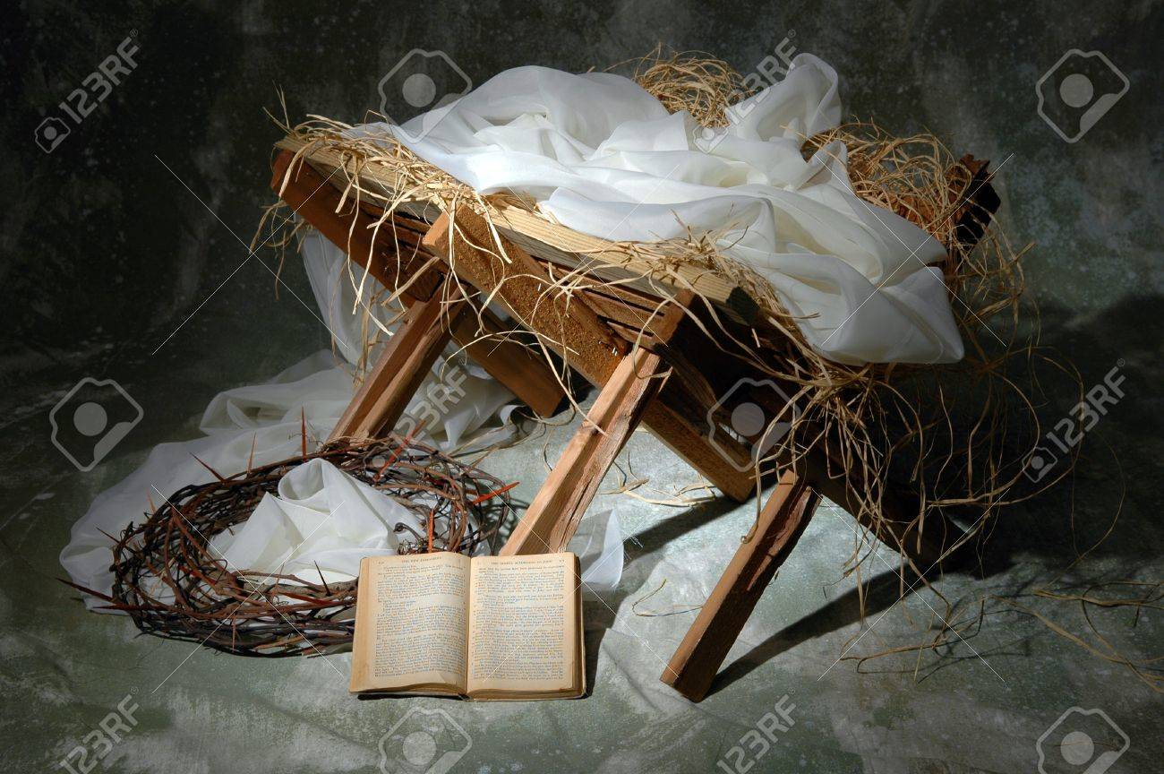 The Story Of Christmas With Open Bible To John 3:16 Stock Photo ...