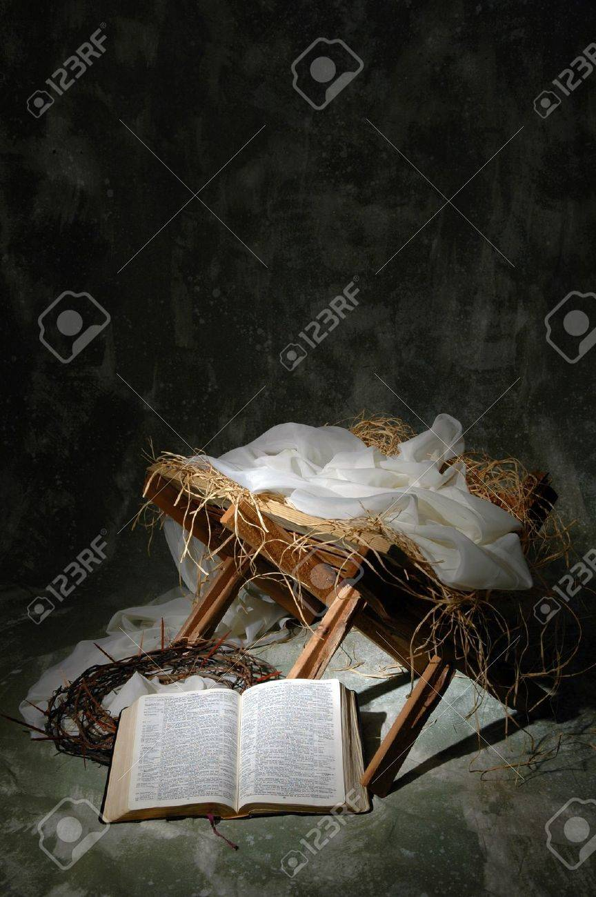 The Story Of Christmas Metaphor With Open Bible To John 3:16 Stock ...