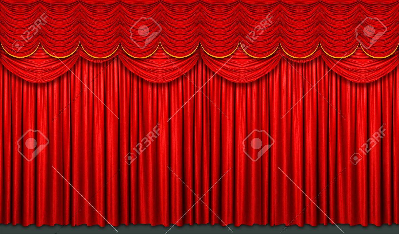 Red stage curtain with arch entrance Stock Photo - 7751813