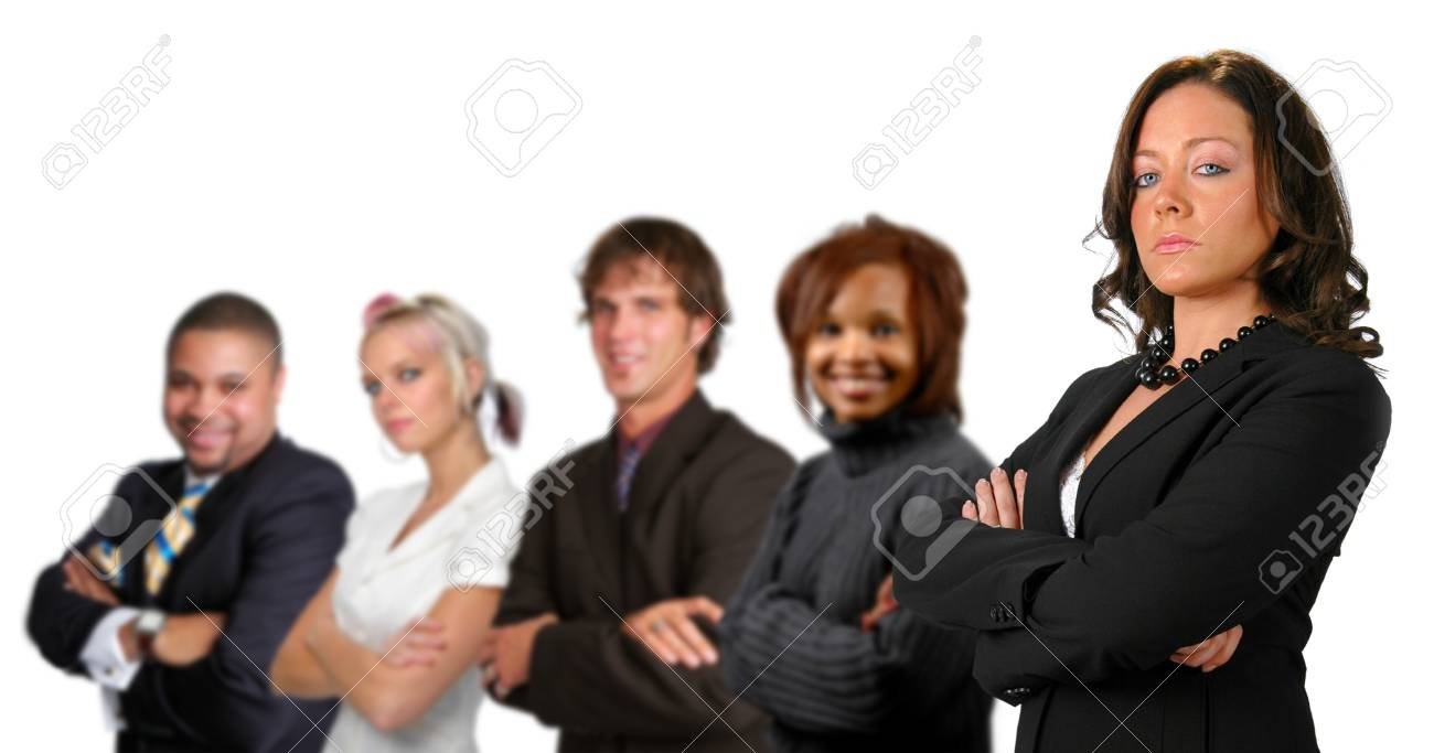 Business team concept with different men and women isolated over a white background. Stock Photo - 7751903