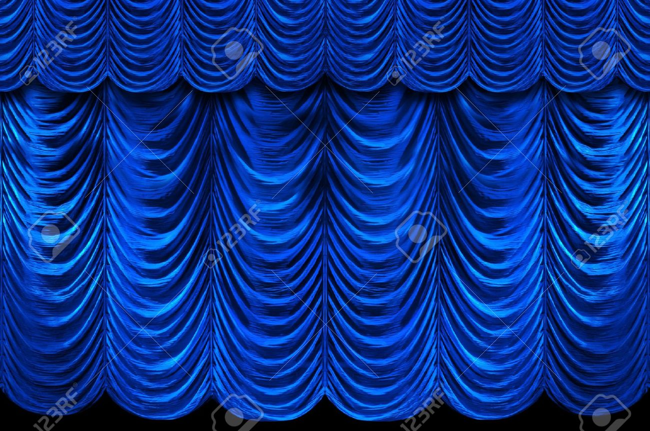 Cobalt blue curtains - Stage Blue Curtains Stock Photo 7793838