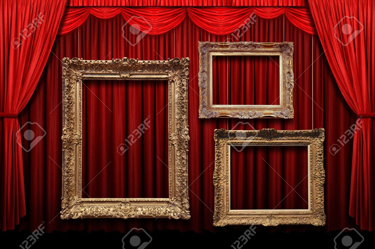 Gold stage curtain - Red Stage Curtain With Gold Frames Stock Photo 7804019