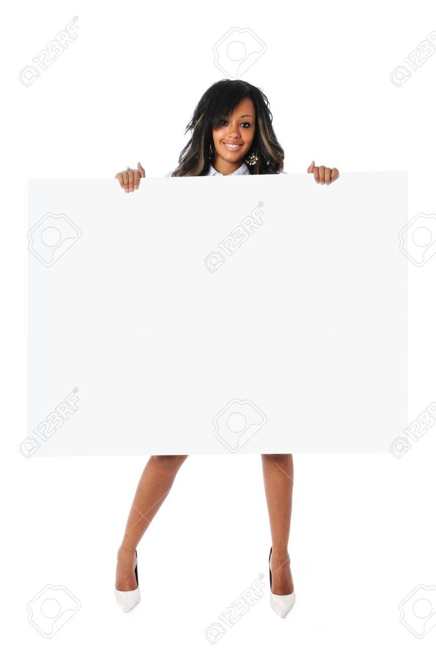 Beautiful African American woman holding sign Stock Photo - 7803741