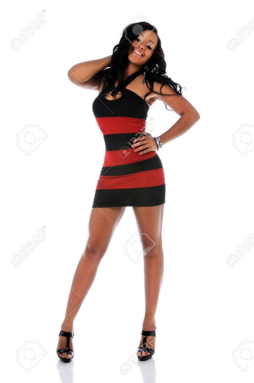 Young African American woman standing over a white background Stock Photo - 7887449