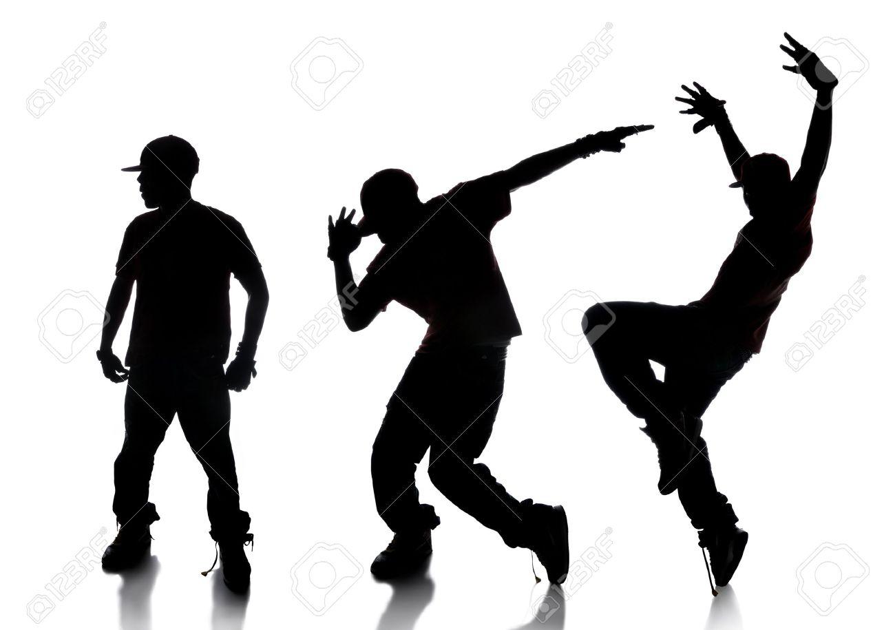 Top Dilhouette De La Séquence De Danseur Hip-hop Sur Un Fond Blanc  JS65