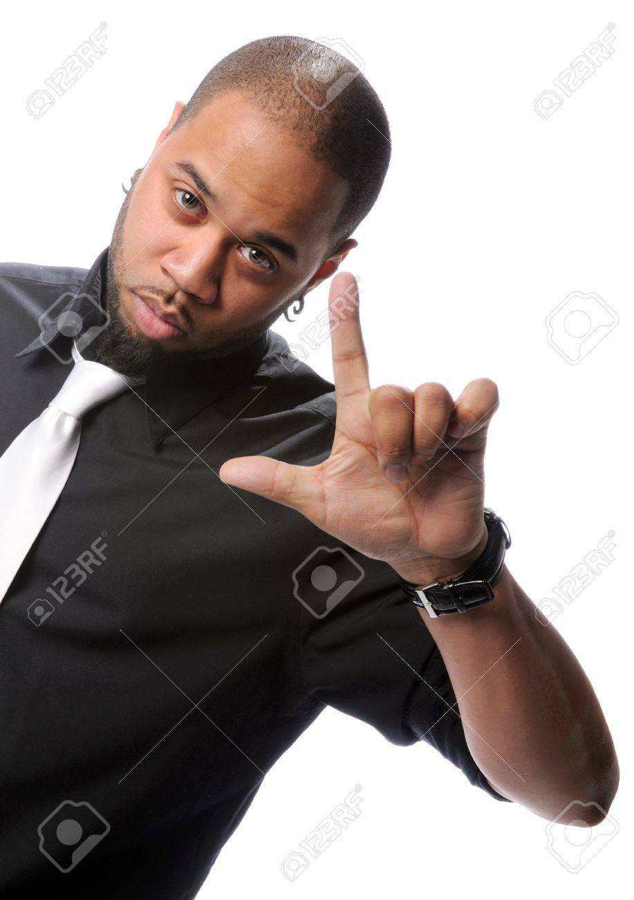 Young African American man gesturing isolated over white background Stock Photo - 7888554