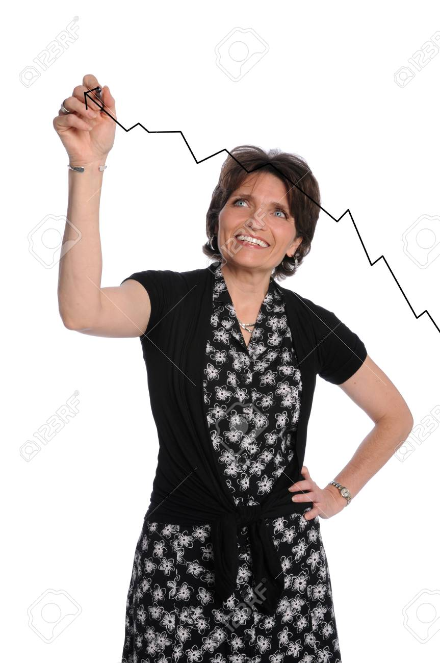 Businesswoman drawing growth chart on transparent glass Stock Photo - 7956150