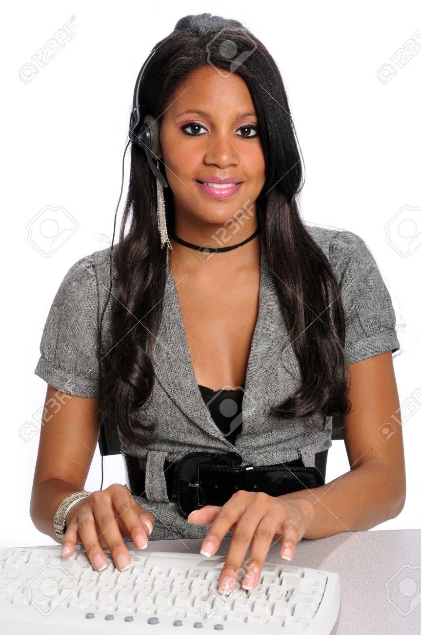 african american customer service representative phone african american customer service representative phone headset working stock photo 7956161