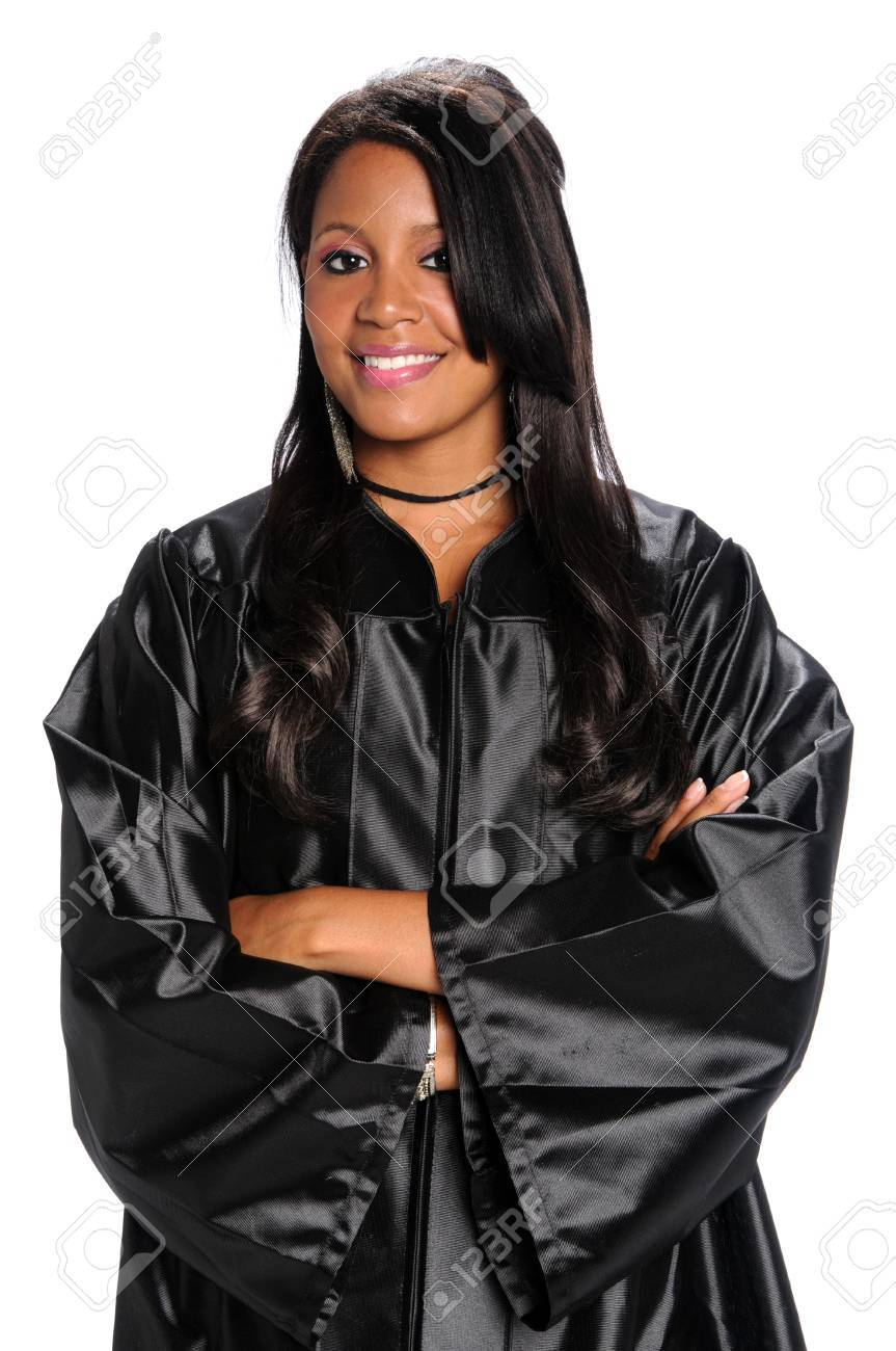 Young African American woman dressed in graduation gown Stock Photo - 7956162