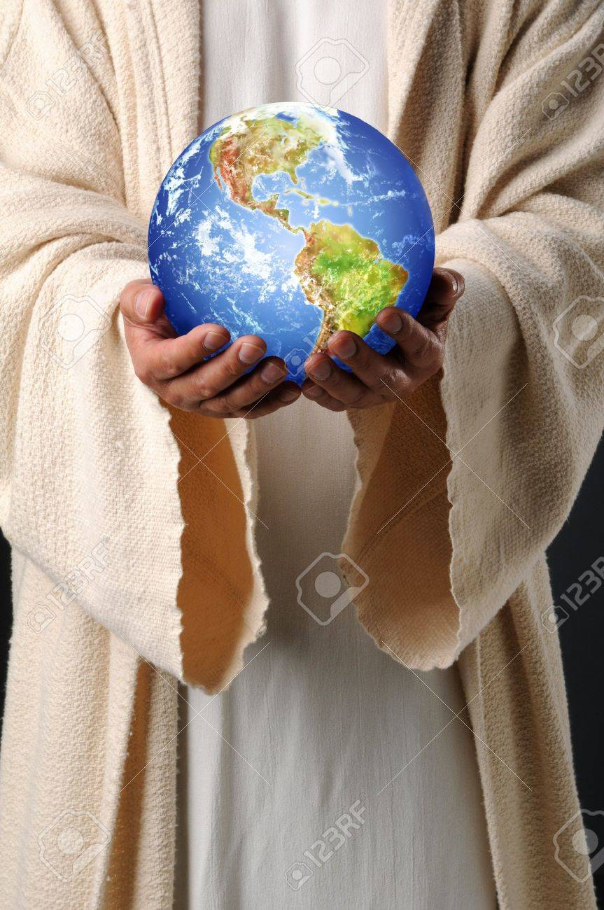 The hands of Jesus holding planet earth Stock Photo - 7956164