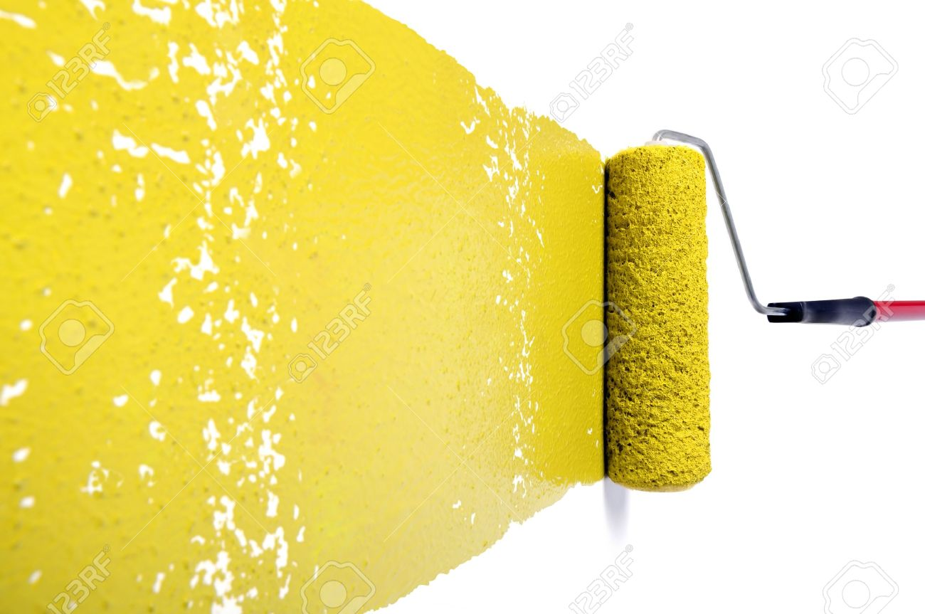 Pain Roller With Yellow Paint On White Wall