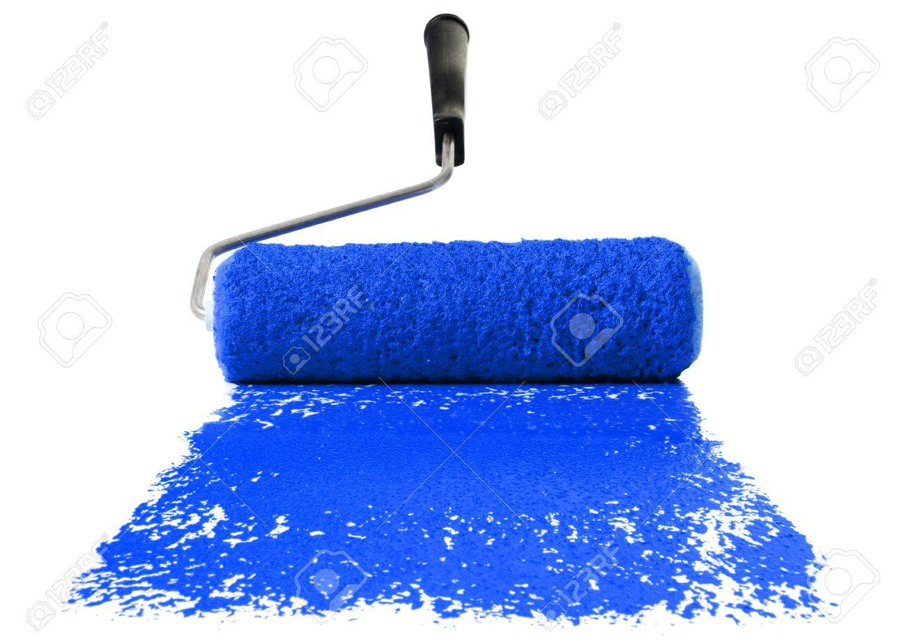 Blue Paint paint roller with blue paint isolated over white background stock