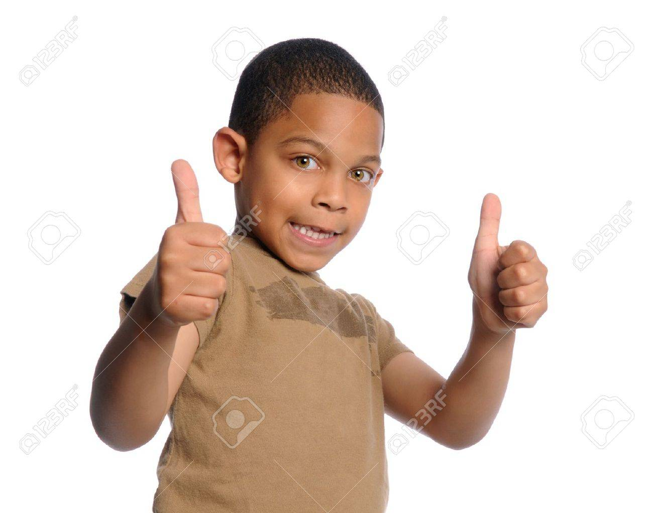 Young African american boy giving the thumbs up Stock Photo - 7956256