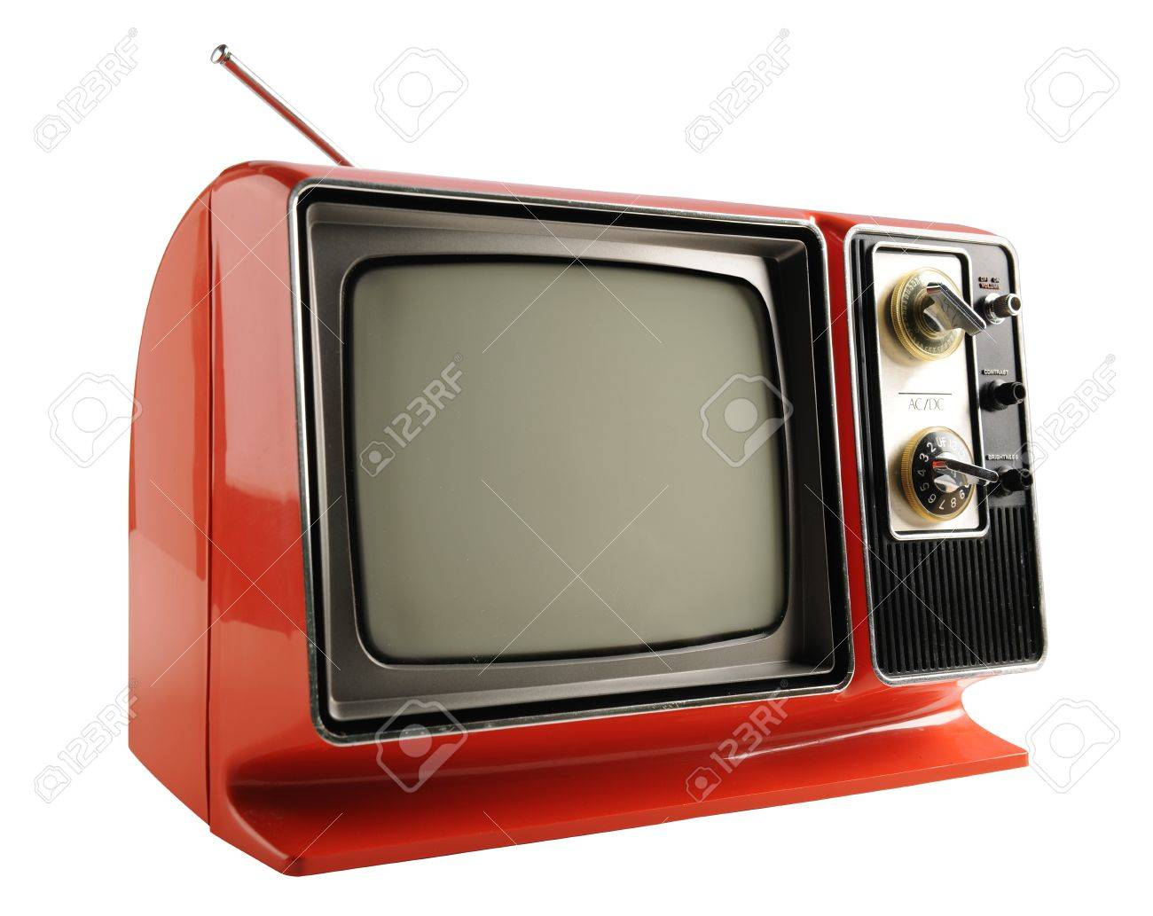 Orange vintage television from the 1970s
