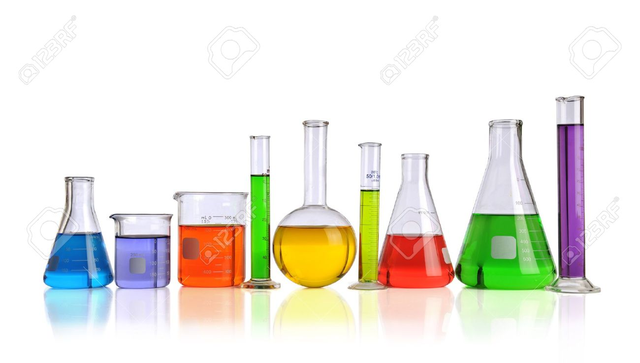 Laboratory glassware with liquids of different colors isolated over white background Stock Photo - 8204786