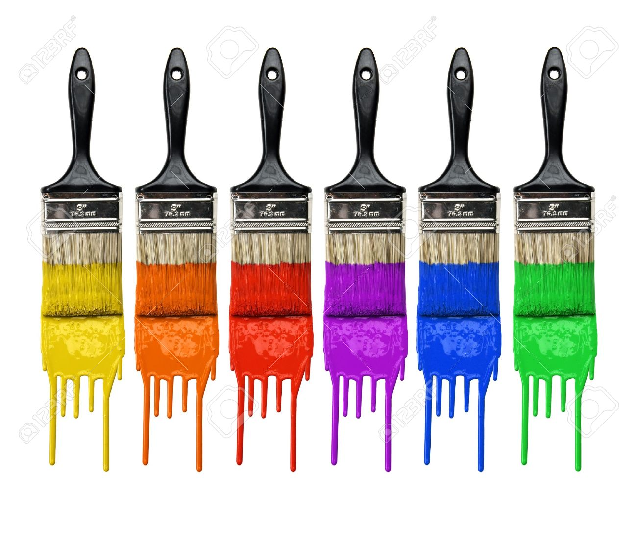 Paintbrushes with dripping paint of different colors isolated over white background Stock Photo - 8204953