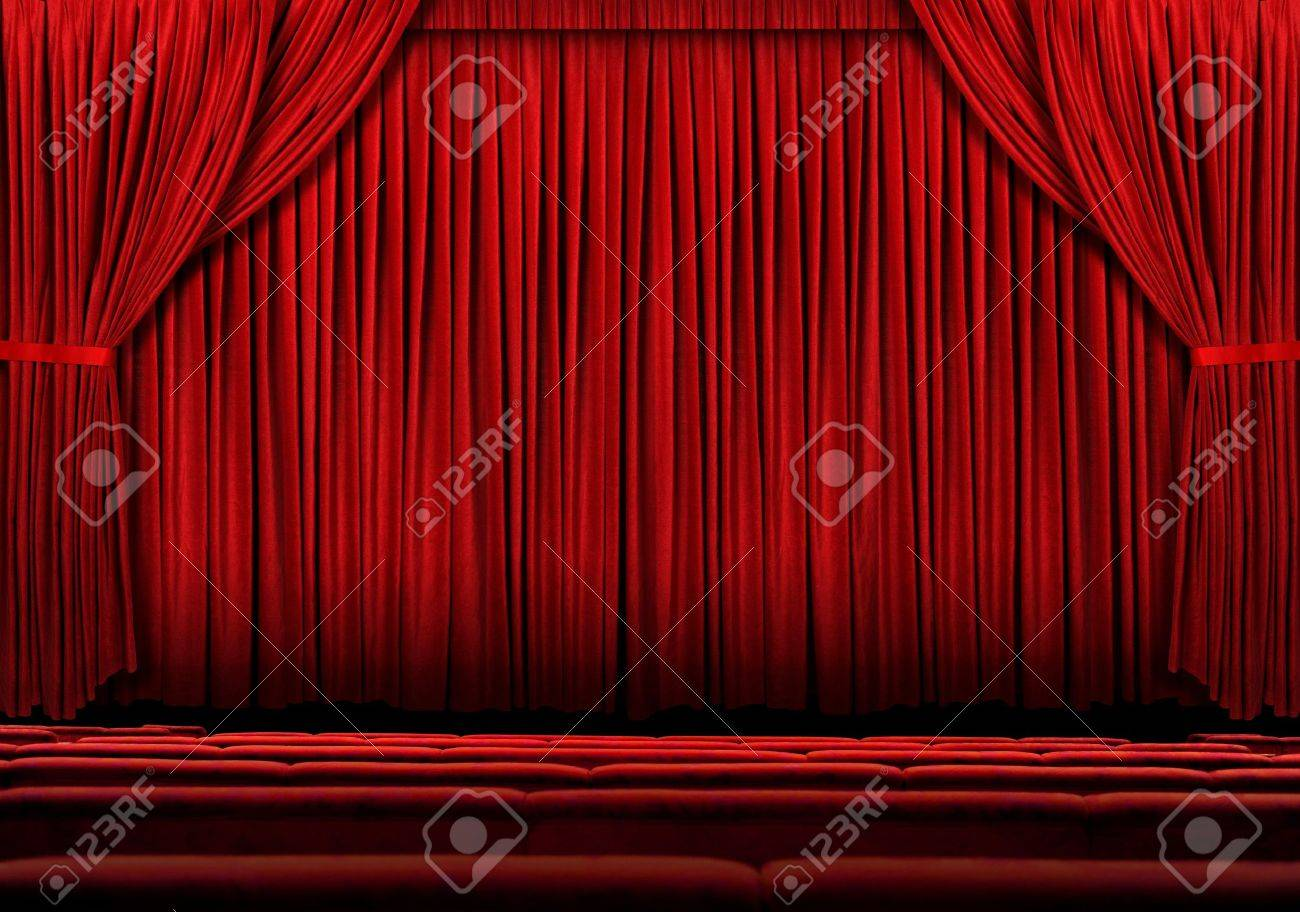 Red stage curtain with lights - Large Red Theater Curtain With Lights And Shadows Stock Photo 8273800
