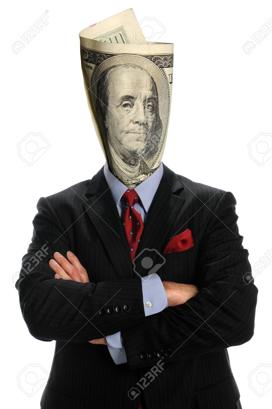 portrait of businessman withUS bill isolated over white background Stock Photo - 8273787