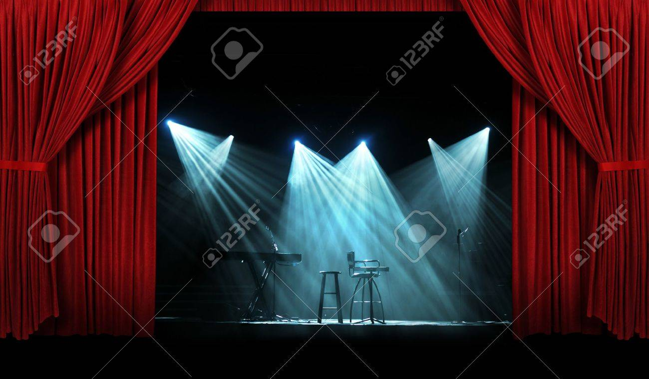 Red stage curtain with lights - Concert Stage With Large Red Curtains With Lights Stock Photo 8415261