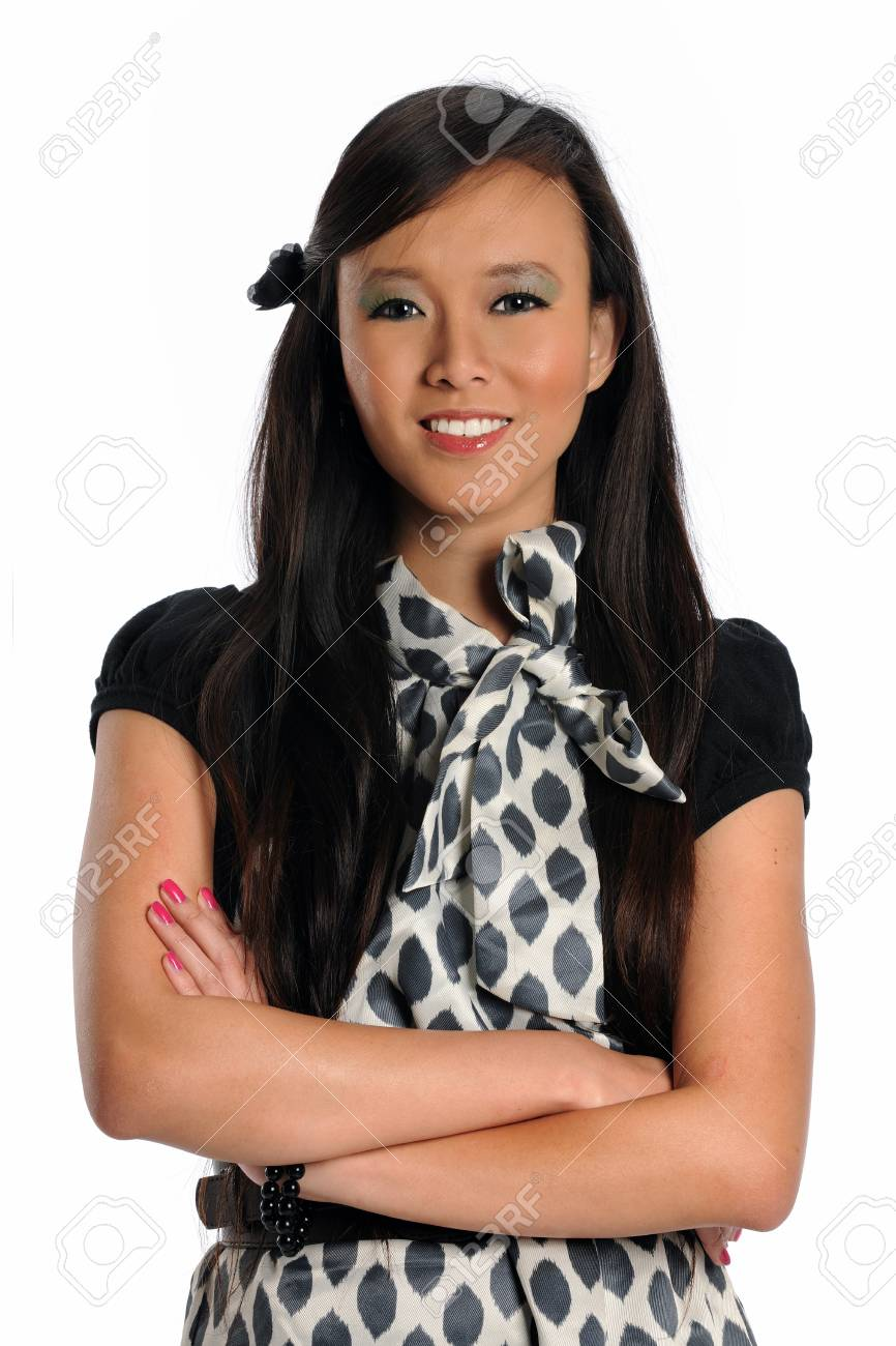 Portrait of Asian businesswoman smiling isolated over white background Stock Photo - 10713963