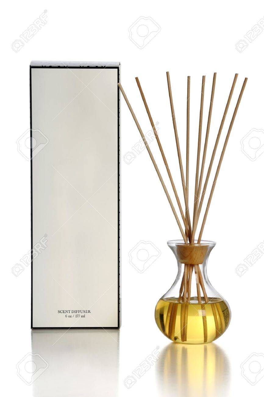 scent diffuser over white background with reflections on table stock photo - Scent Diffuser