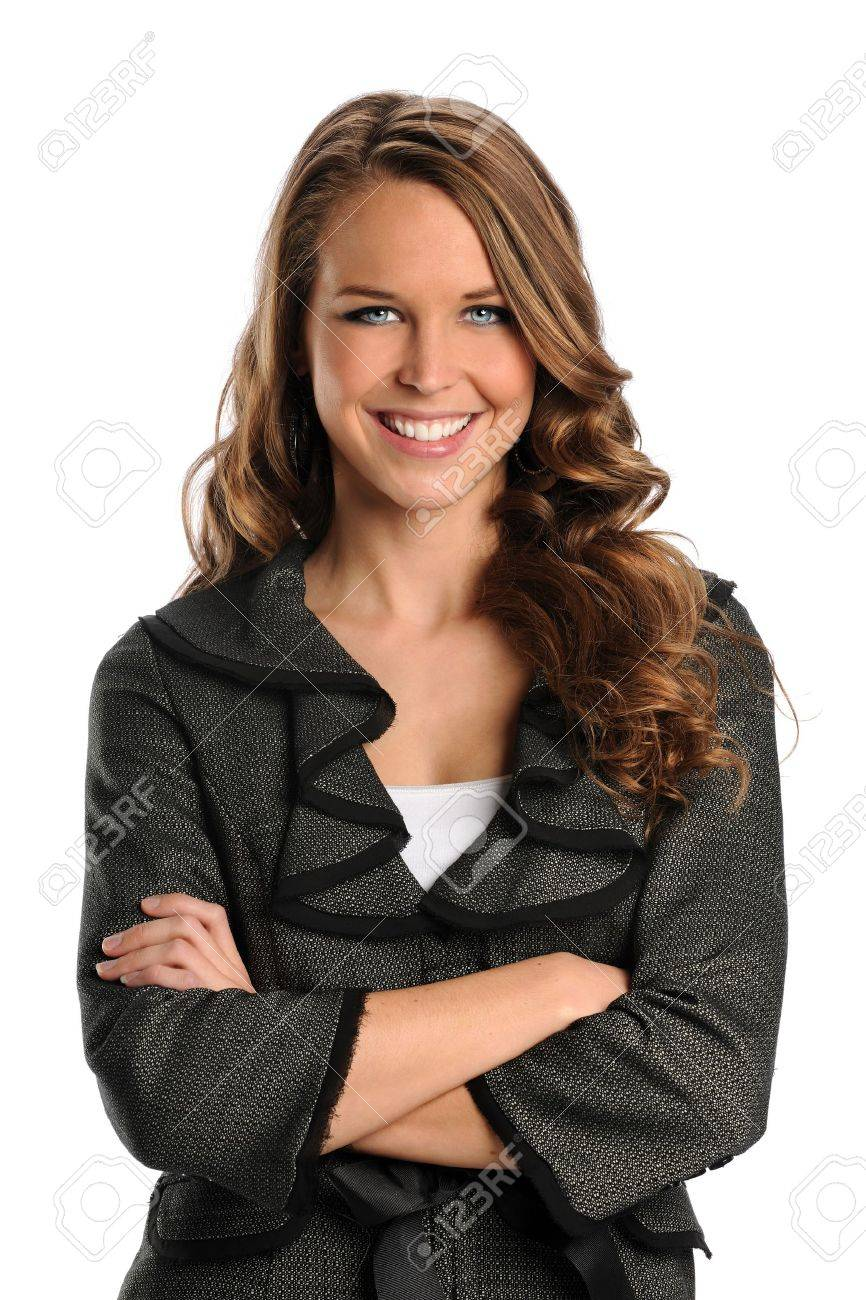 Portrait of beautiful businesswoman smiling with arms crossed isolated over white background Stock Photo - 10870913