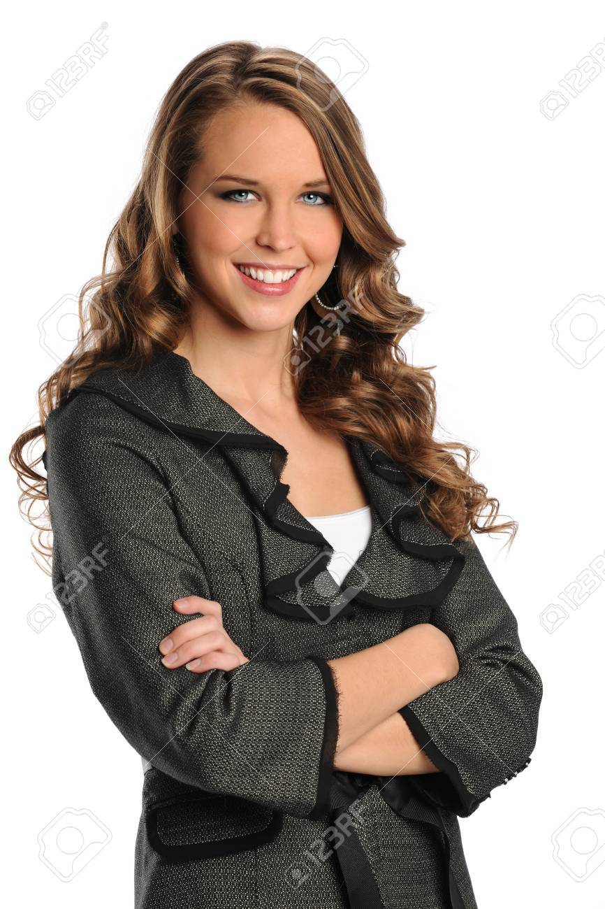 Portrait of beautiful businesswoman smiling with arms crossed isolated over white background - 10870993