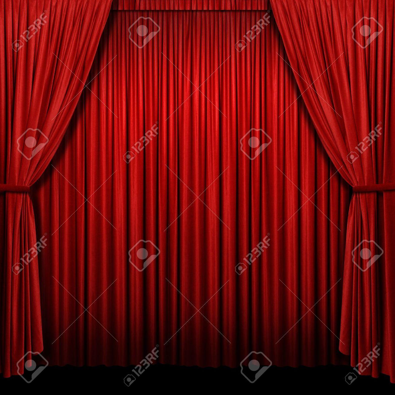 cortinas rojas con luces y sombras en formato cuadrado foto de archivo