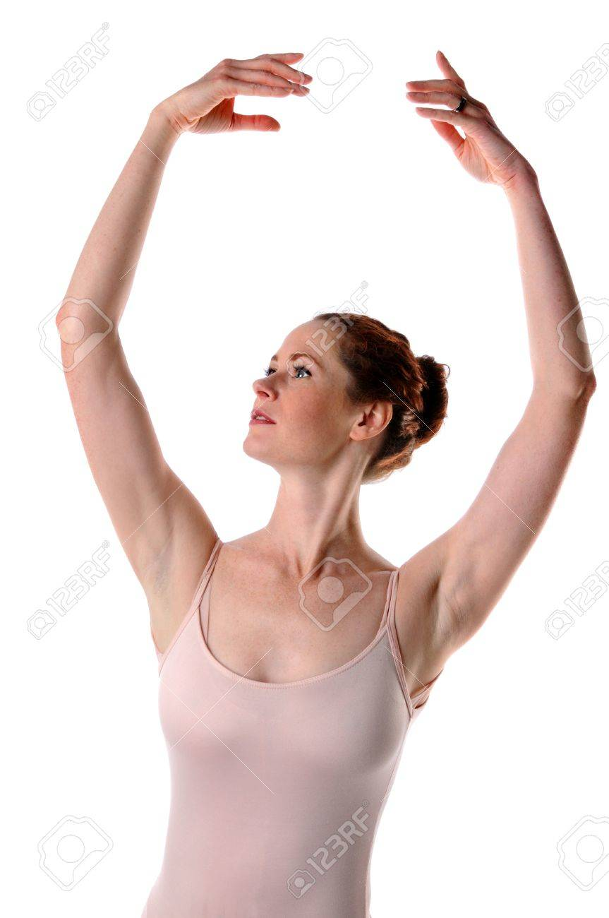 ballerina raising arms isolated over white background stock photo