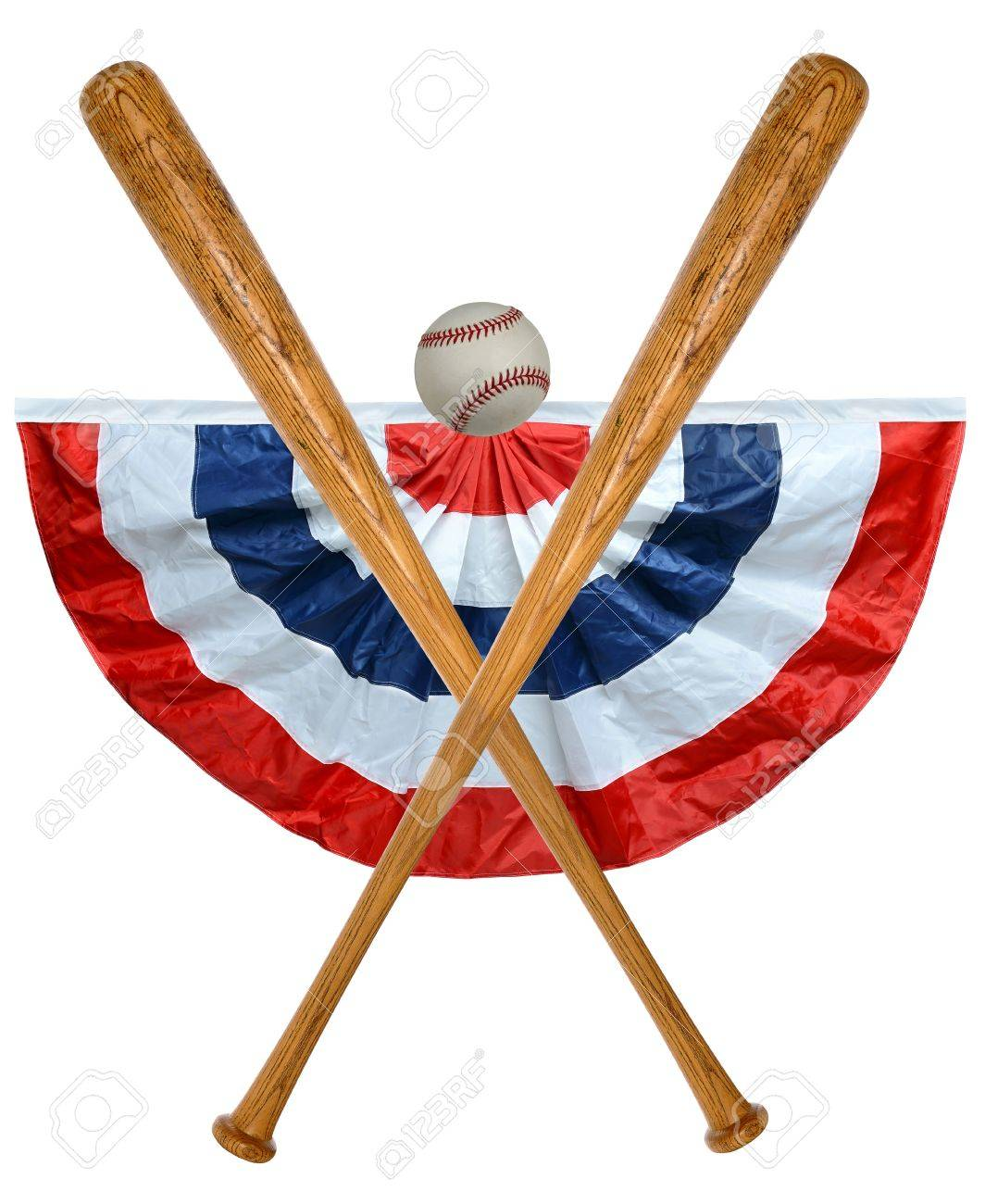 baseball bats ball and banner isolated over white background stock