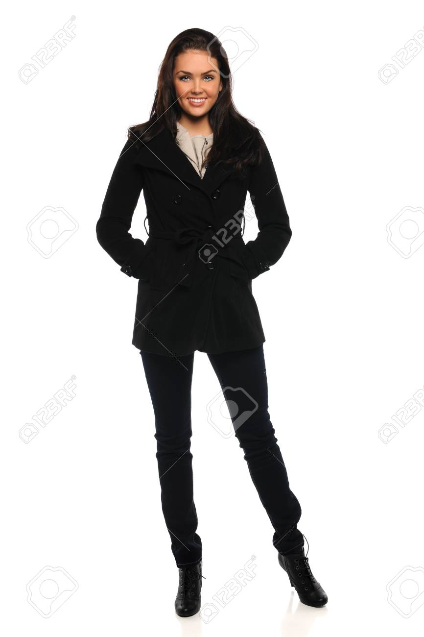 Portrait of beautiful young businesswoman standing over white background - 16711174