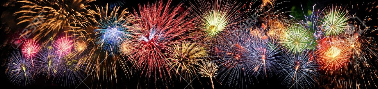 Colorful panoramic view of fireworks over night sky Stock Photo - 20144358
