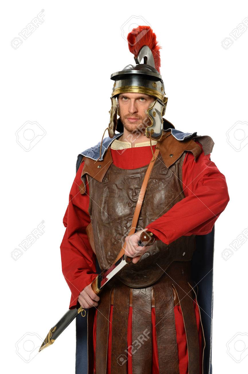 portrait of roman soldier with sword isolated over white background
