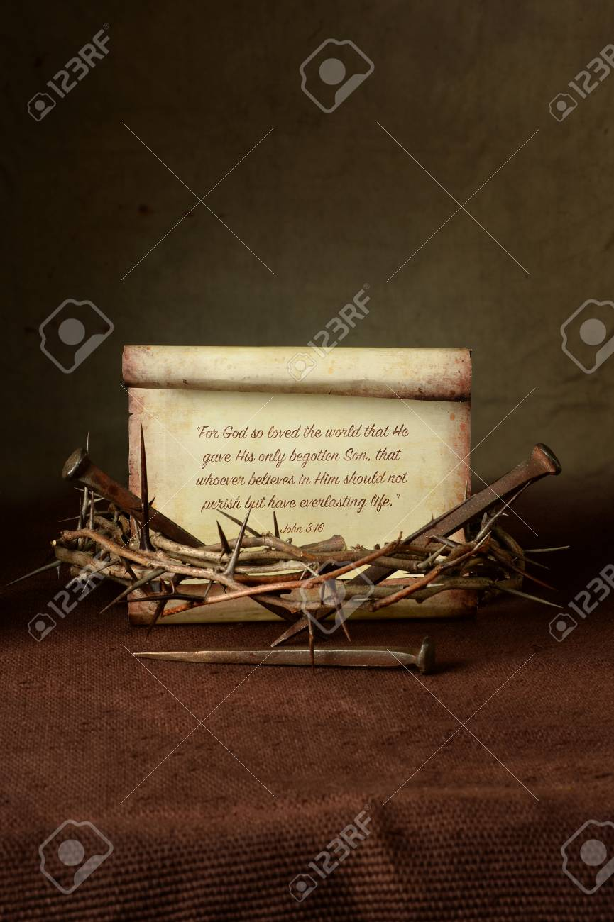 Crown of thorns and nails with John 3:16 verse over cloth - 63777344