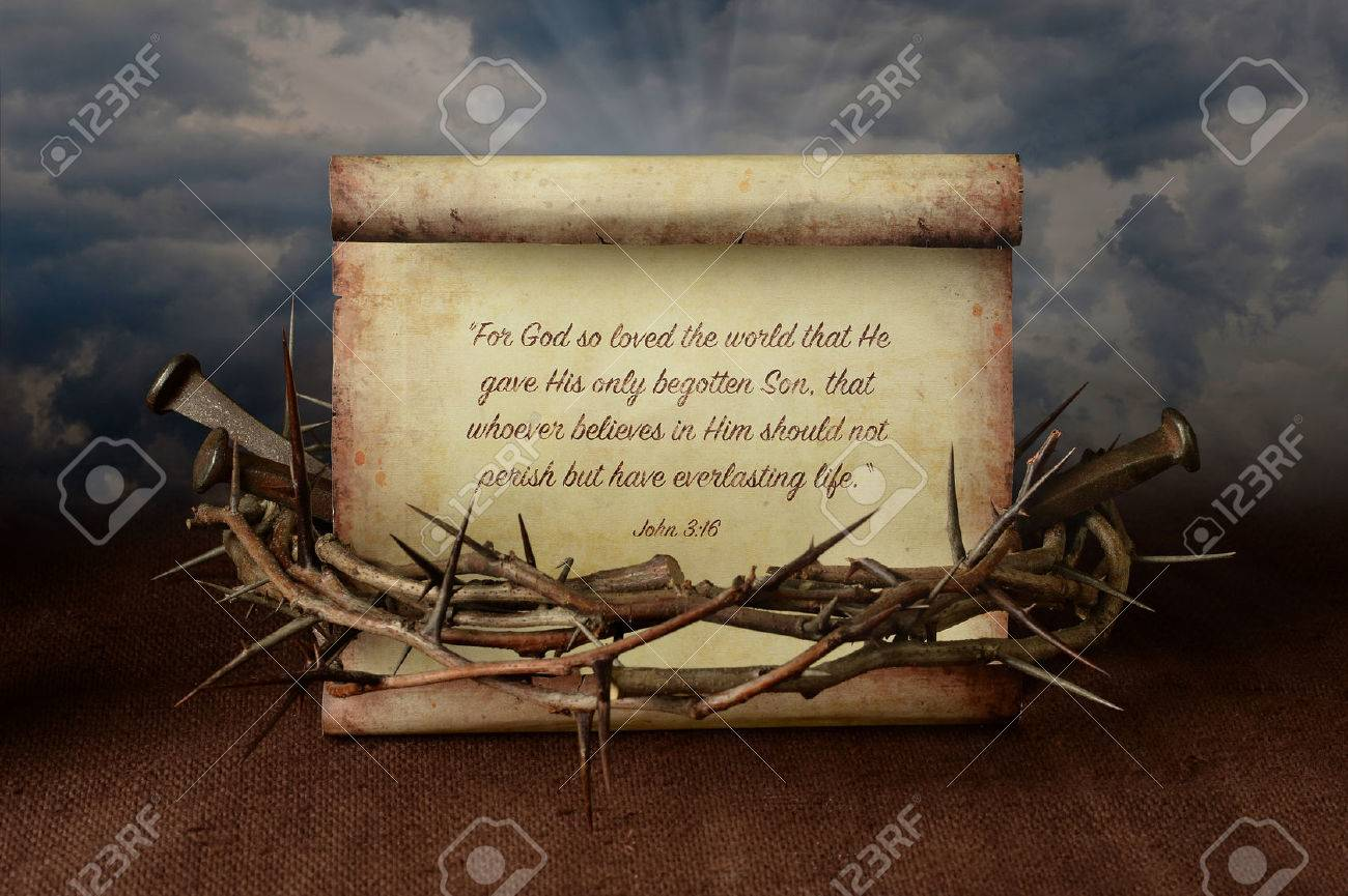 John 3:16 scroll surrounded by crown of thorns and nails - 67548855