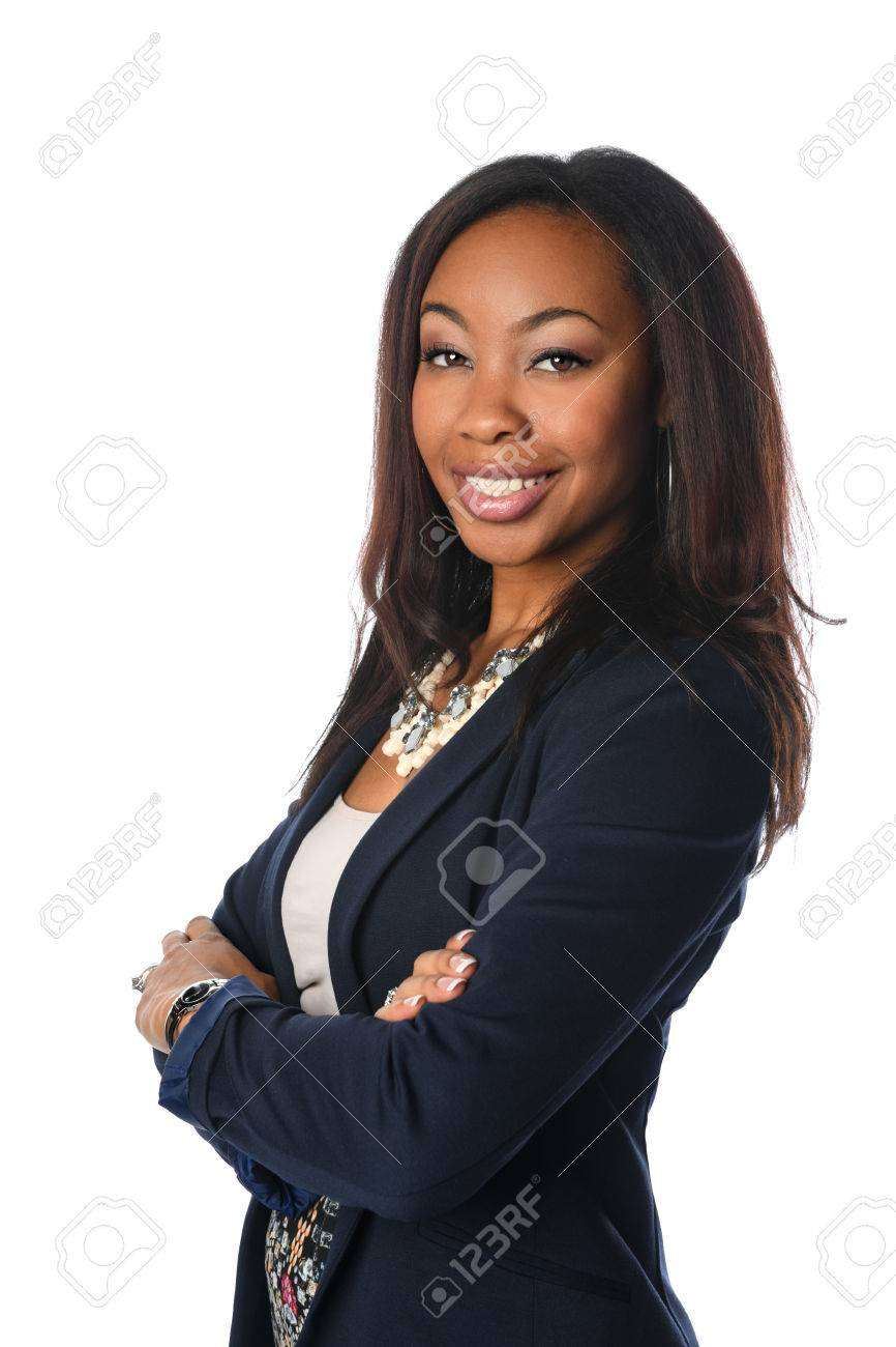 Portrait of African American businesswoman with arms crossed isolated over white background - 67549150