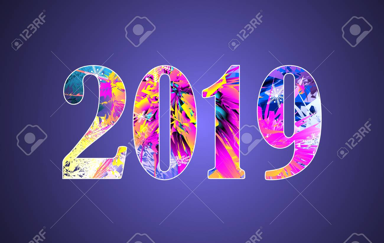 happy new year theme multicolored greeting banner including bright colors used clipping mask