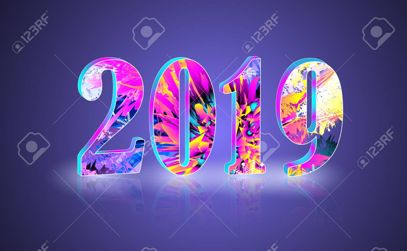 happy new year theme multicolored greeting banner including bright colors and 3d numbers with reflect