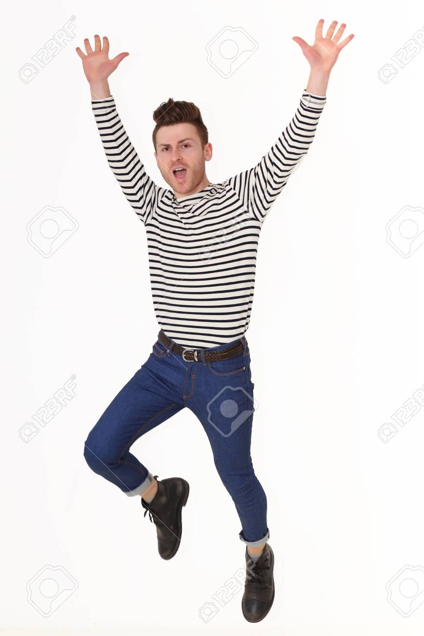 Jumping young man isolated on white backgroung Stock Photo - 13747078