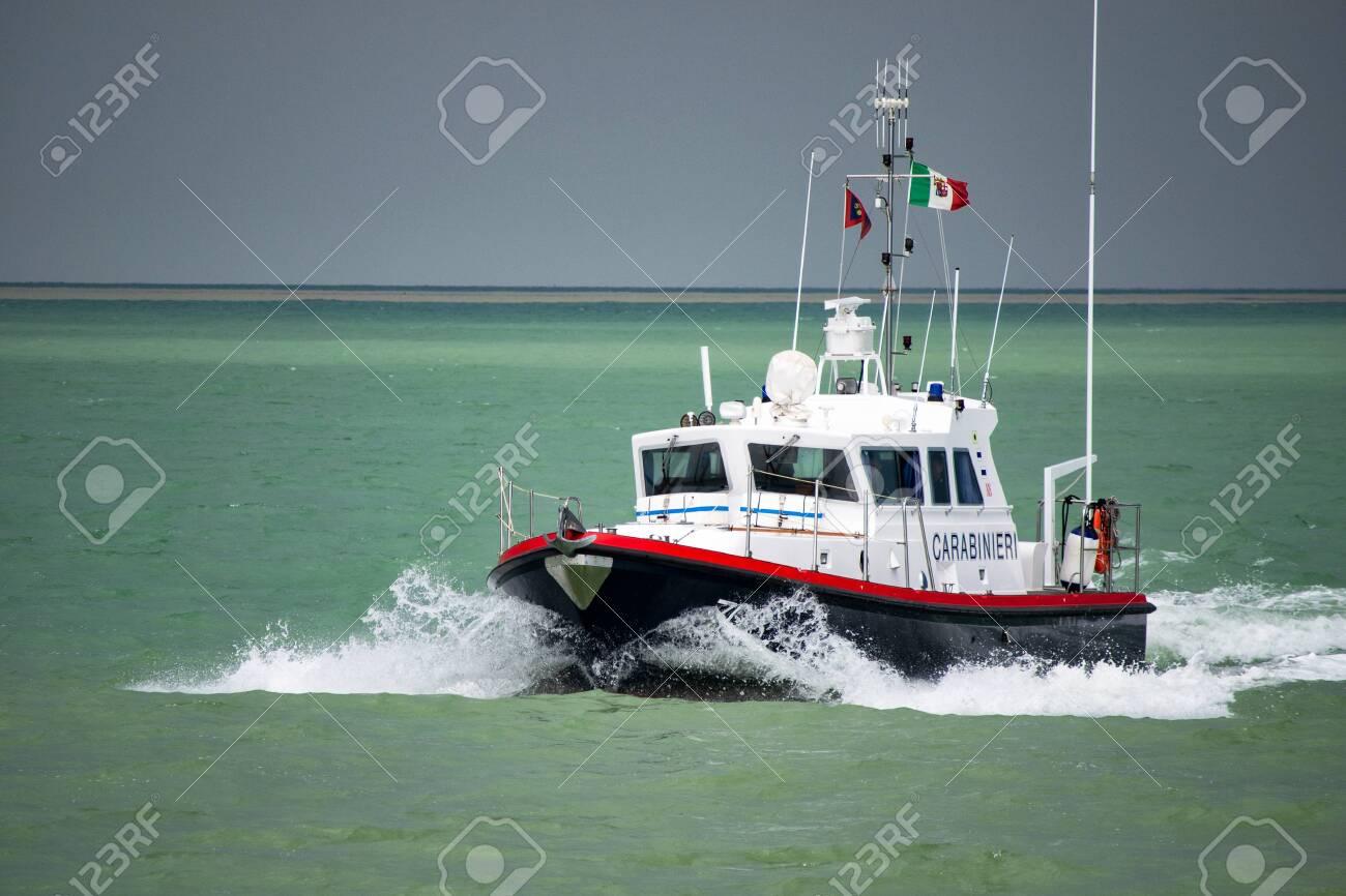 Italian Carabinieri maritime patrol motor boat. Carabinieri is Italian Gendarmerie Corp with jurisdiction in civil law enforcement. - 131781584