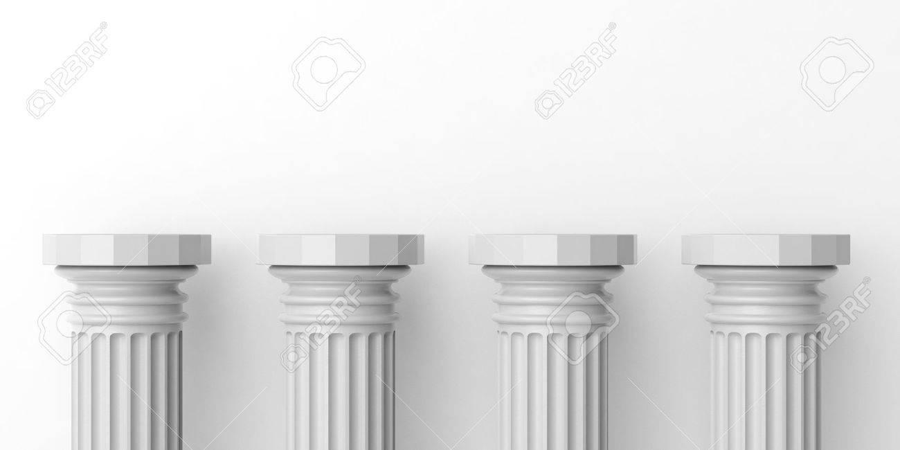 3d rendering four white marble pillars on white background stock