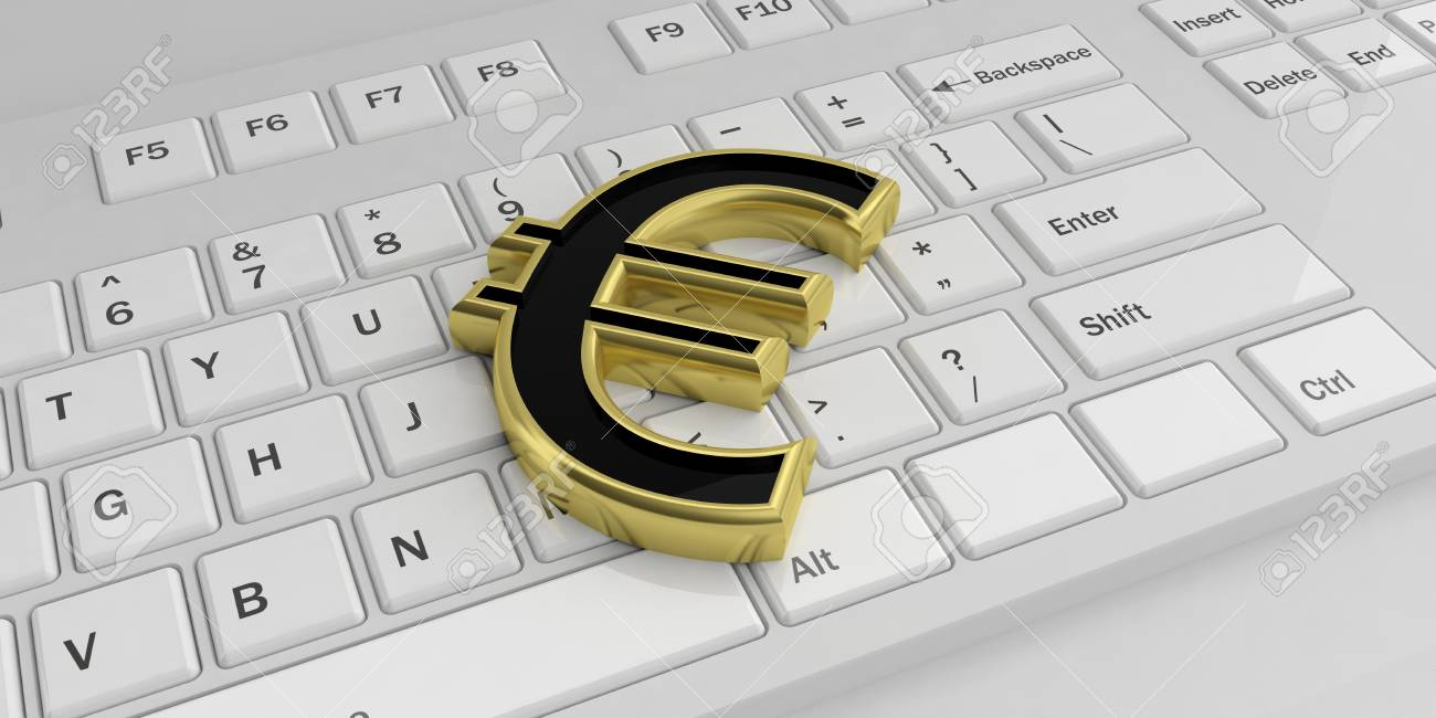 3d Rendering Golden Euro Symbol On A White Keyboard Stock Photo