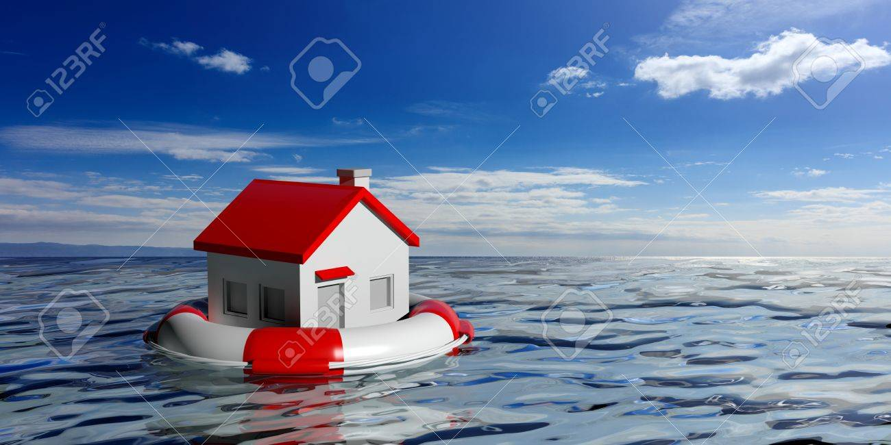 Life buoy and a small house on blue sea and sky background. 3d illustration - 73552640