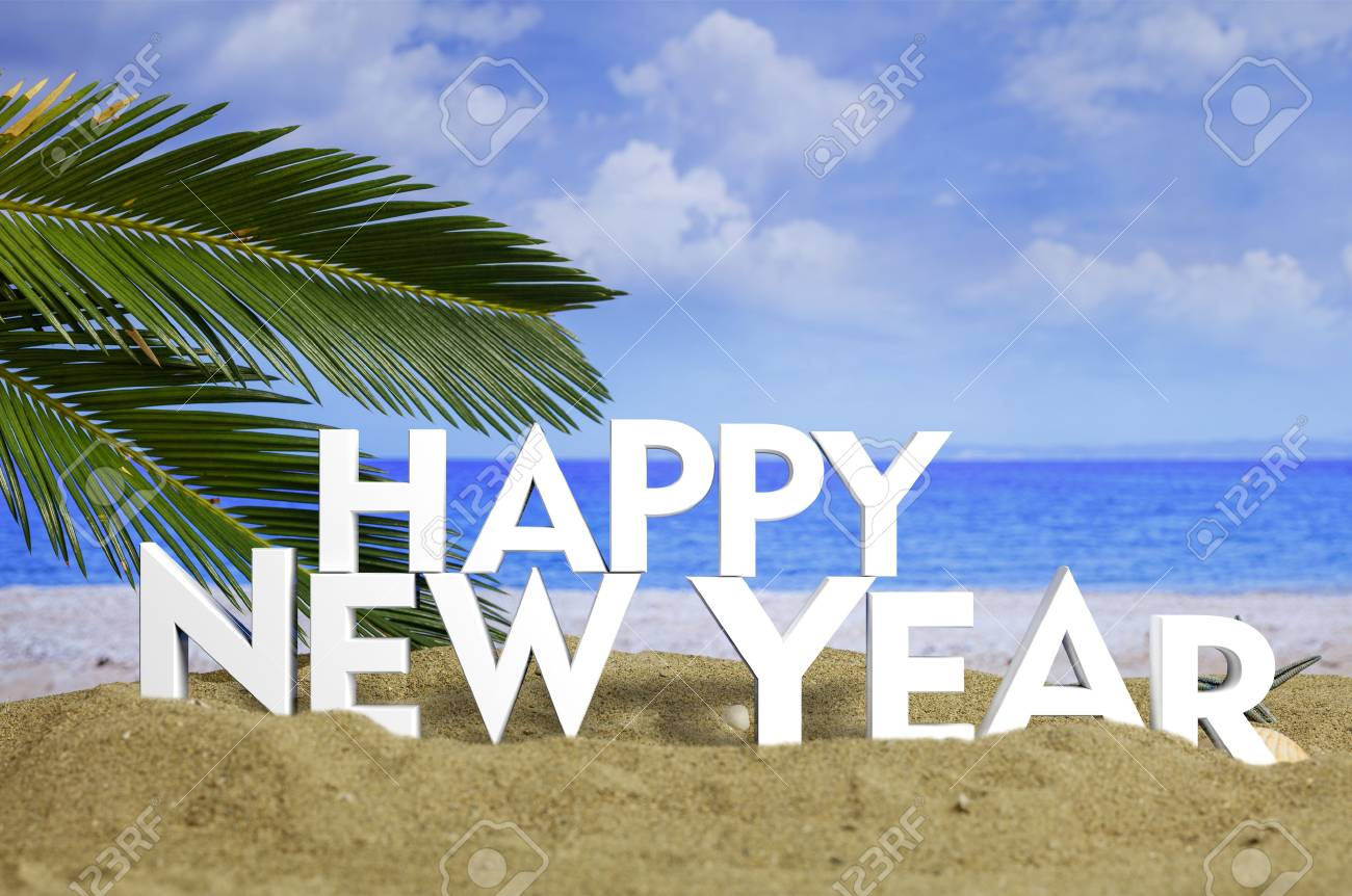 happy new year on a sandy beach new year beach vacation concept 3d illustration