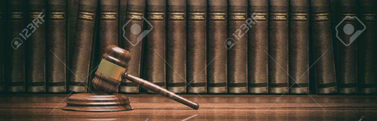Law theme. Wooden gavel and books. 3d illustration - 78507103